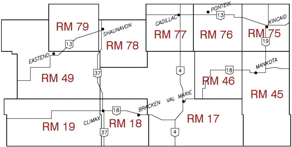 Location of R.M. No 17 in relation to surrounding RMs.